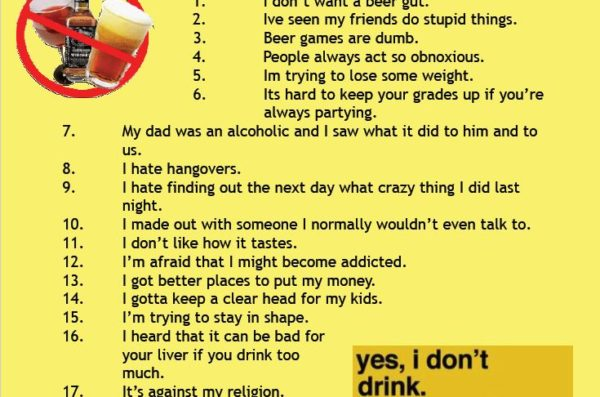 I don't drink because…